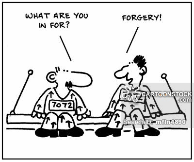 'What are you in for?' - 'Forgery.'